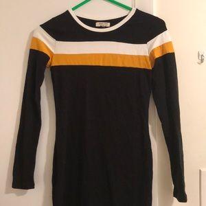 Striped long sleeve mini bodycon dress